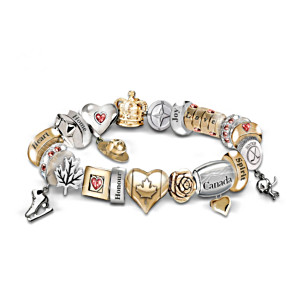 Spirit Of Canada Charm Bracelet With Swarovski Crystals