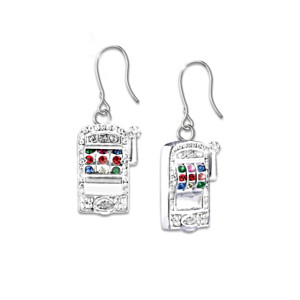 Ladies Jackpot Pierced Earrings With Swarovski Crystals