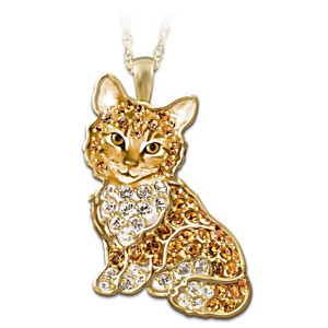 Solid Sterling Silver Cat Pendant With Swarovski Crystals