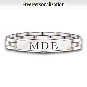 Personalized, Engraved Stainless Steel Bracelet For Son