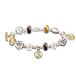 Pittsburgh Steelers Charm Bracelet With Swarovski Crystals