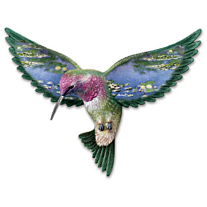 """Water Lilies"" Hummingbird Wall Sculpture"