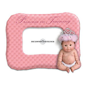 Plush Photo Frame With Sculpted Lifelike Baby Doll