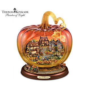 Thomas Kinkade Glass Pumpkin With Lit Village, Moving Wagons