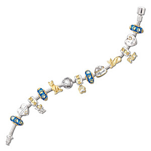 Cat Lover's 24K Gold-Plated Charm Bracelet With Crystals