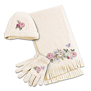 Lena Liu Floral Art Fleece Hat, Scarf And Gloves