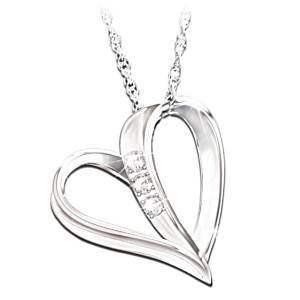 Engraved Heart Diamond Necklace For Daughter With Poem