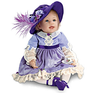 Baby Doll In Victorian Outfit With Tea Set