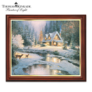 "Thomas Kinkade ""Winter's Glow"" Framed Canvas Print"