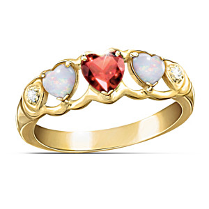 """Loving Hearts"" Diamond And Gemstone Eternity Ring"