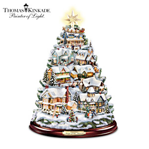 Thomas Kinkade Illuminated Musical Village Tabletop Tree