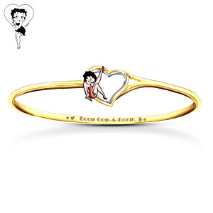Betty Boop 24K-Gold Plated Engraved Bracelet