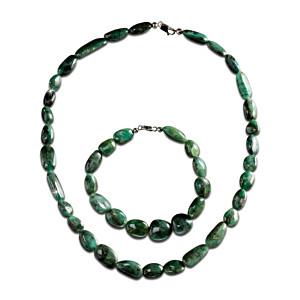 Rough-Cut Emerald Necklace And Bracelet Set