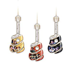 "Elvis Guitar Christmas Ornaments With Goldtone ""Autograph"""