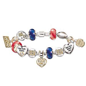 New York Giants Charm Bracelet With Swarovski Crystals