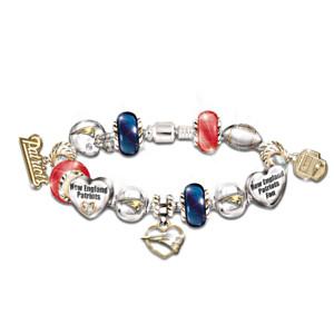 New England Patriots Charm Bracelet With Swarovski Crystals