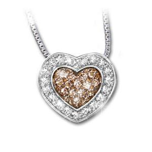 """Heart Of Love"" White And Mocha-Coloured Diamond Pendant"