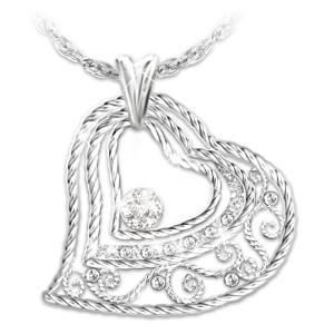 """Our Love Grows"" Heart-Shaped Diamond Pendant Necklace"