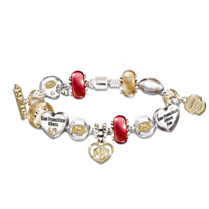 San Francisco 49ers Charm Bracelet With Swarovski Crystals