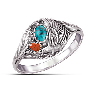 """""""Spirit Of The Eagle"""" Turquoise And Jasper Cabochon Ring"""