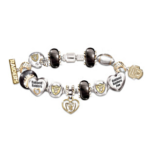 Oakland Raiders Charm Bracelet With Swarovski Crystals
