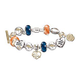 Denver Broncos Charm Bracelet With Swarovski Crystals