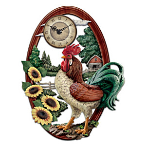 Wall Clock With Sculpted Rooster In Farmyard Scene