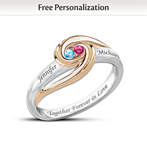 Personalized 2-Tone Ring With 2 Birthstones, Engraved Names