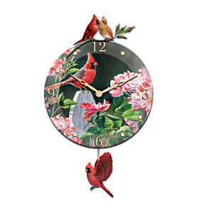Beveled Glass Wall Clock With Cardinal Art By Susan Bourdet