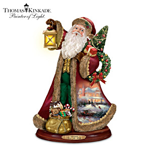 "Thomas Kinkade ""Deck The Halls"" Carolling Santa Sculpture"