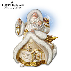 Thomas Kinkade Talking St. Nicholas With Baby Jesus Figurine