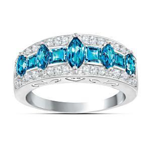 """Blue Rhapsody"" Topaz And Diamond Ring"