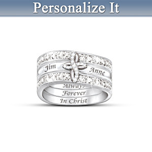 Always Forever In Christ Personalized Couples Stacking Ring