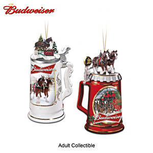 Budweiser Beer Stein Ornaments With Sculptural Clydesdales
