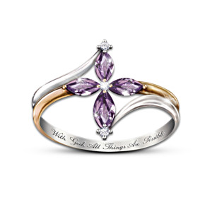 Holy Trinity Cross Ring With Amethysts And Diamonds