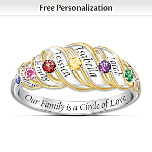 Family Ring With Engraved Names And Birthstones For Mom