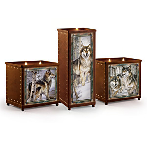 Set Of 3 Stained-Glass Wolf Art Candleholders By Al Agnew