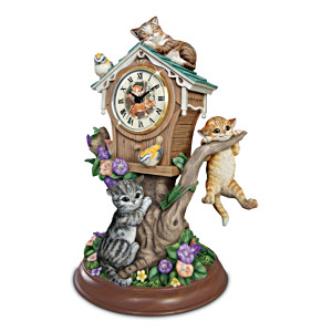 "Jürgen Scholz ""Timeless Tails"" Kitten Tabletop Clock"