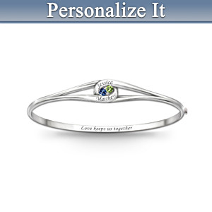 Personalized Bangle Bracelet With Two Birthstones, Two Names