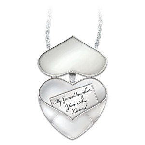 Diamond Pendant Locket With Engraving For Granddaughter