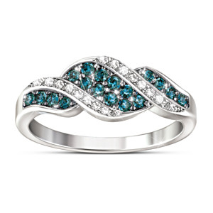 Sterling Silver Ring With Blue And White Diamonds
