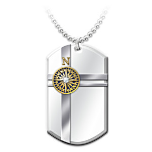 """True North"" Pendant Necklace Engraved With National Anthem"