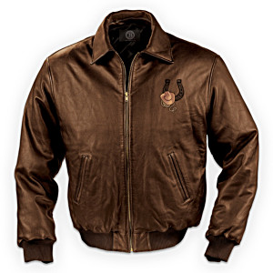 Men's Leather Jacket With Cowboy Artwork: Cowboy Round Up
