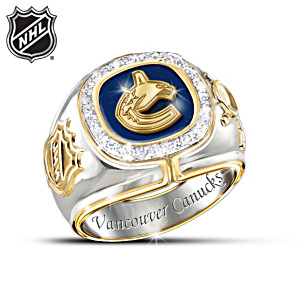 NHL®-Licensed Vancouver Canucks® 10-Diamond Ring