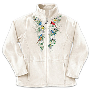 Songbird And Floral Art Embroidered Women's Fleece Jacket