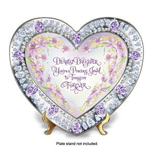 Heart-Shaped Floral Art Collector Plate For Daughters