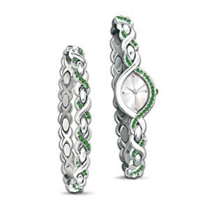 Love Always Watch And Bracelet Set With Swarovski Crystals
