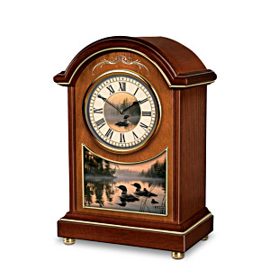 """Evening Harmony"" Duck Art Tabletop Carriage Clock"