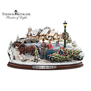 Thomas Kinkade Christmas Sculpture With Lights And Music