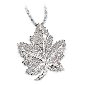 Canadian Pride Maple Leaf Swarovski Crystal Pendant Necklace